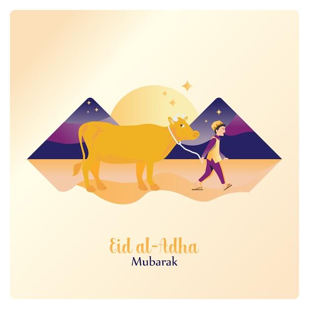 Szczęśliwy eid al adha mubarak, prowadzący krowę na islamską ofiarę Premium Wektorów
