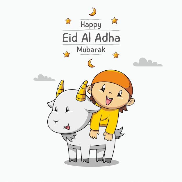 Szczęśliwy Eid Al Adha Mubarak. Ręcznie Rysowane Kreskówka ładny Muzułmański Chłopiec I Koza Premium Wektorów