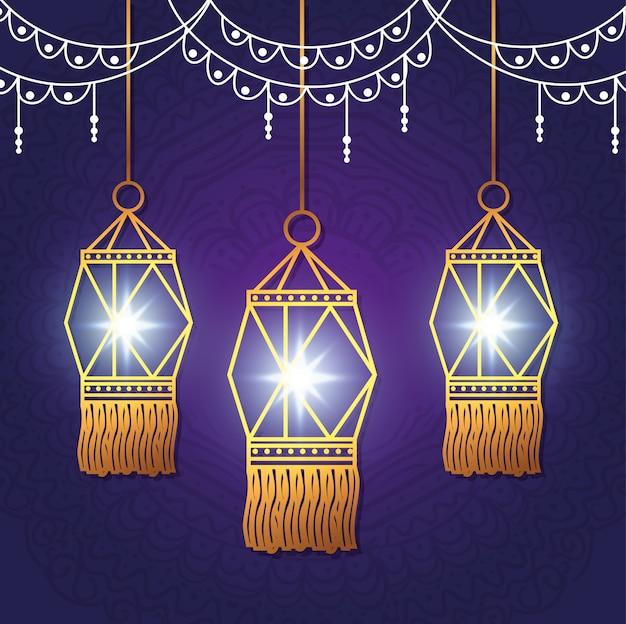 Szczęśliwy Festiwal Diwali świateł Z Latarniami Darmowych Wektorów