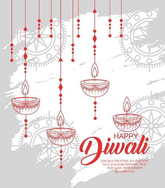 Szczęśliwy Festiwal Diwali świateł Ze świecami Darmowych Wektorów