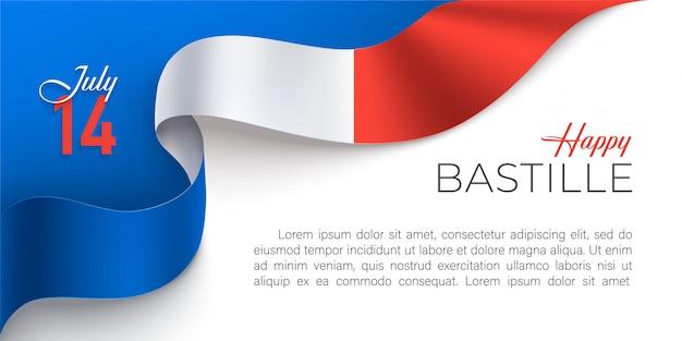 Szczęśliwy Francja Dzień Bastylii Poziomy Baner Premium Wektorów