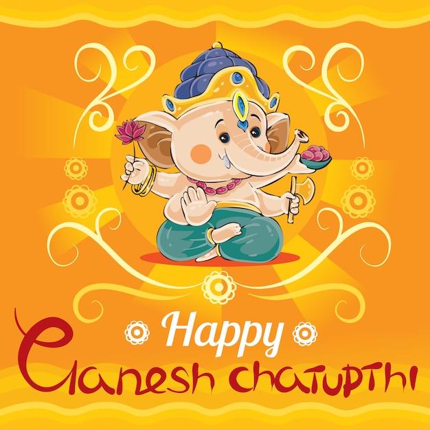 Szczęśliwy ganesh chaturthi, tradycyjne święto w hinduizmie Premium Wektorów
