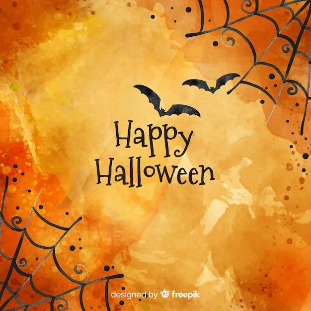 Szczęśliwy halloween tło z pajęczyną i nietoperzami Darmowych Wektorów