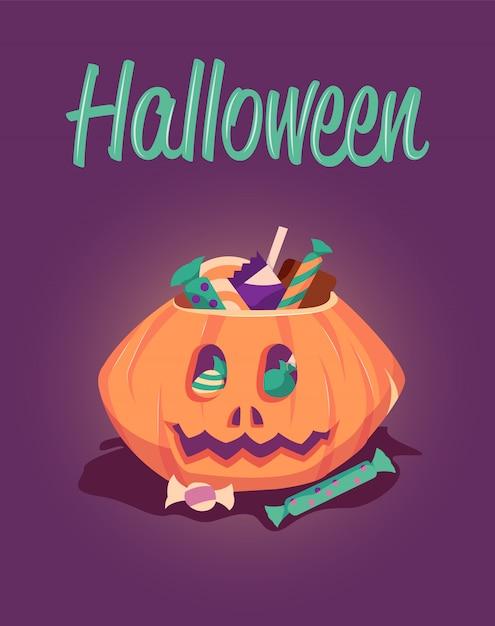 Szczęśliwy Halloweenowy Kartka Z Pozdrowieniami Premium Wektorów