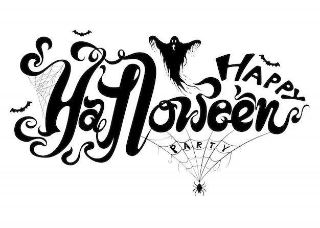 Szczęśliwy halloweenowy tło z duchem Premium Wektorów