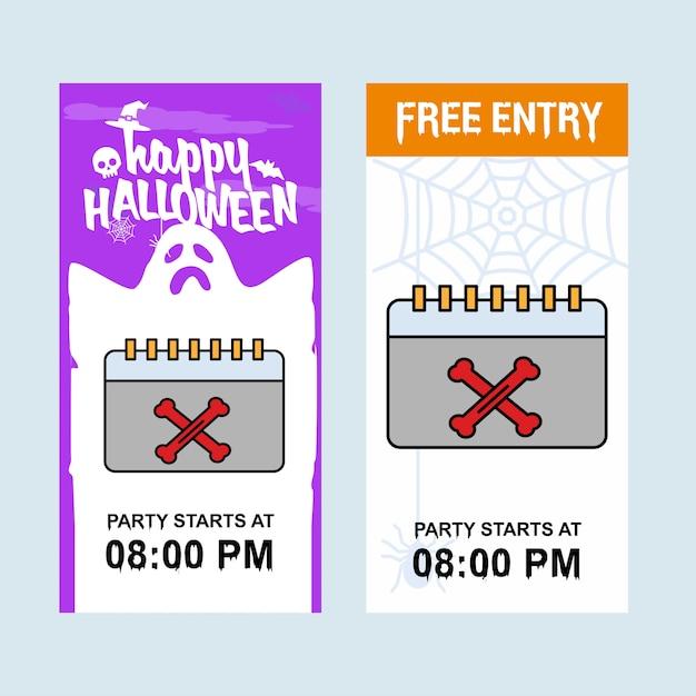 Szczęśliwy halloweenowy zaproszenie projekt z kalendarzowym wektorem Premium Wektorów