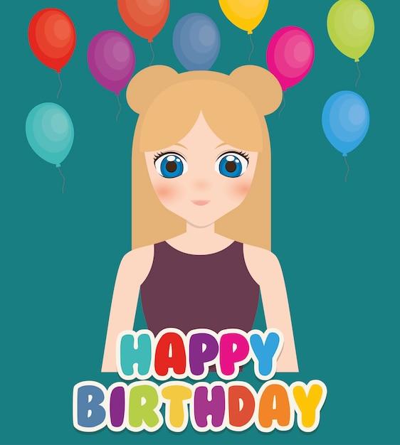 Szczęśliwy Kartka Urodzinowa Z Anime Girl I Balony Premium Wektorów