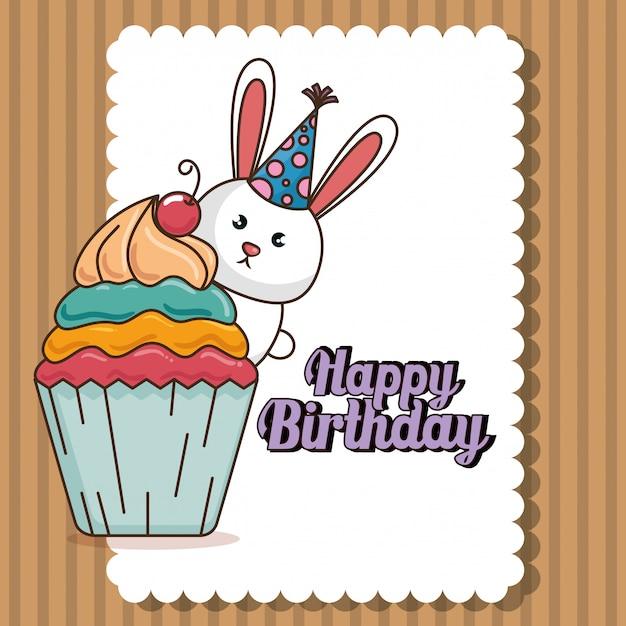 Szczęśliwy Kartka Urodzinowa Z Cute Bunny Darmowych Wektorów