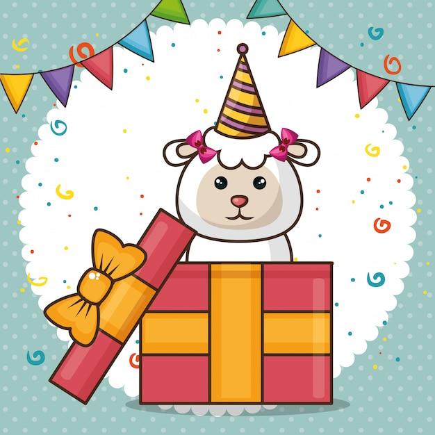 Szczęśliwy kartka urodzinowa z cute owiec Darmowych Wektorów