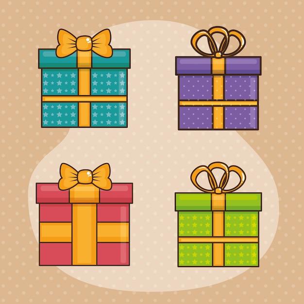 Szczęśliwy kartka urodzinowa z giftboxes Darmowych Wektorów