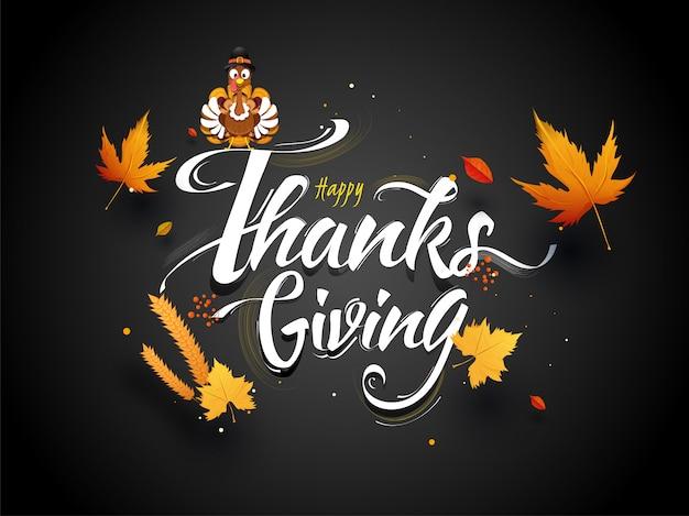 Szczęśliwy Kartkę Z życzeniami Dziękczynienia. Premium Wektorów