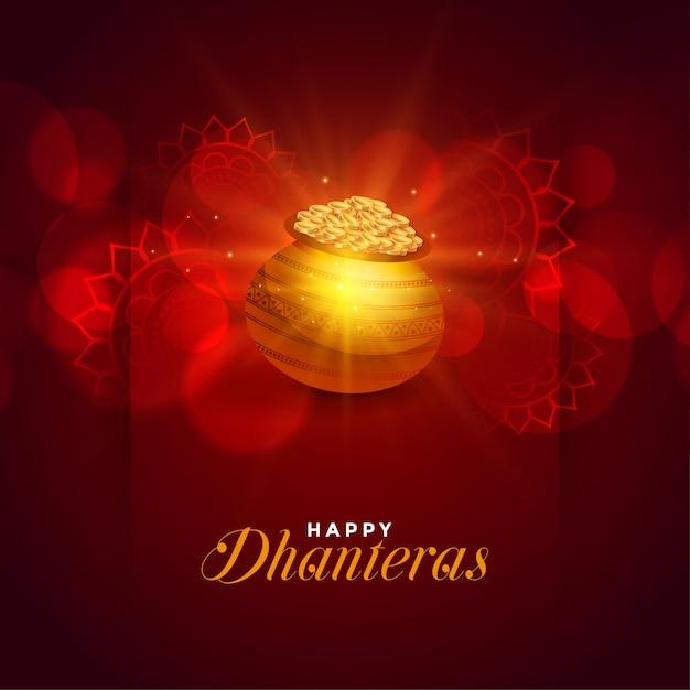 Szczęśliwy kartkę z życzeniami festiwalu dhanteras Darmowych Wektorów