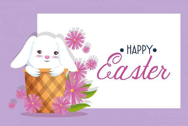 Szczęśliwy królik wewnątrz koszyka do dekoracji karty wielkanocnej Darmowych Wektorów