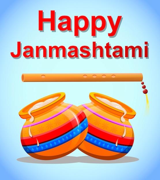Szczęśliwy kryszna janmashtami Premium Wektorów