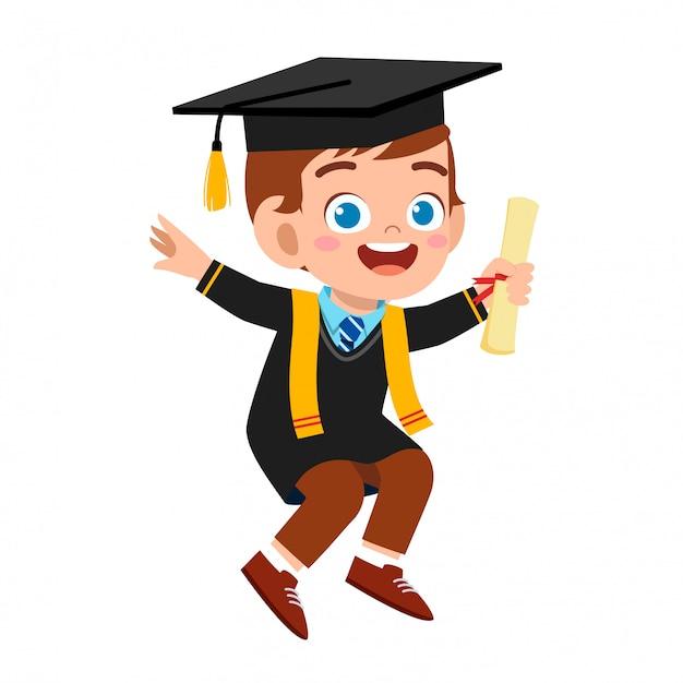 Szczęśliwy ładny Małe Dziecko Chłopiec Ukończył Szkołę Premium Wektorów