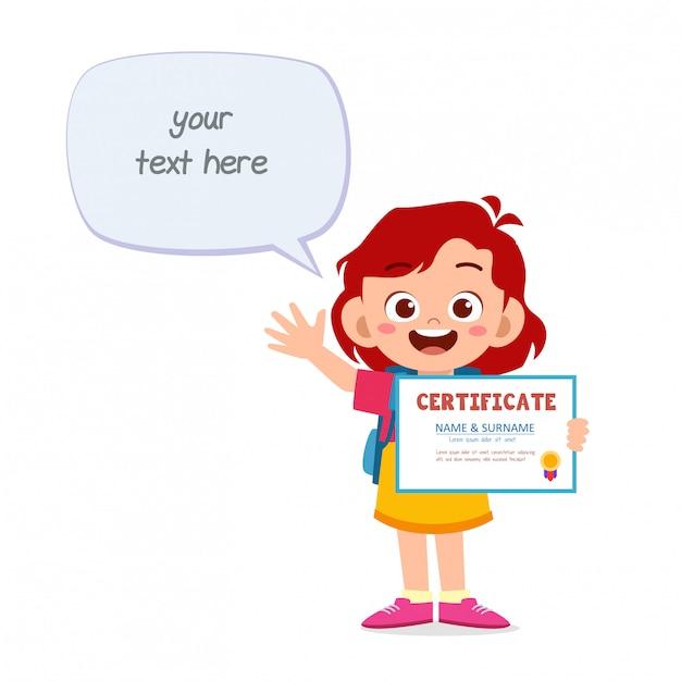 Szczęśliwy ładny Małe Dziecko Dziewczynka Gospodarstwa Certyfikat Premium Wektorów