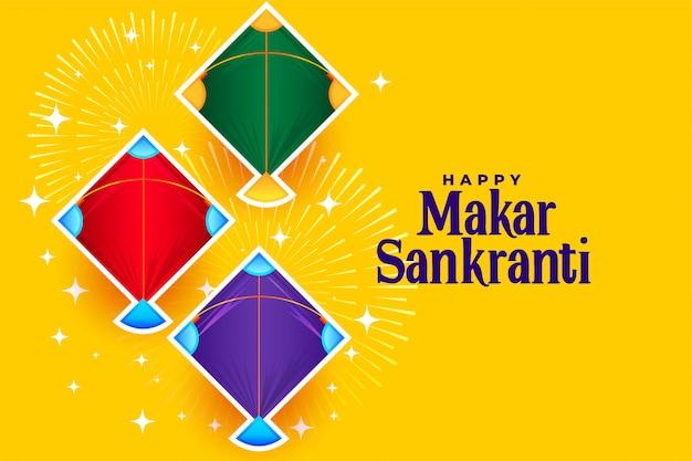 Szczęśliwy Makar Sankranti Z Trzema Wzorami Latawców Darmowych Wektorów