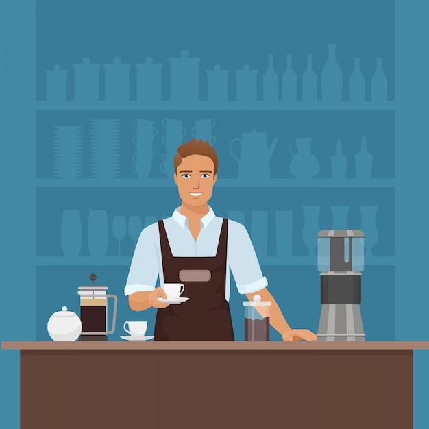 Szczęśliwy mężczyzna barista przygotowywa kawę w cukiernianej restauraci Premium Wektorów