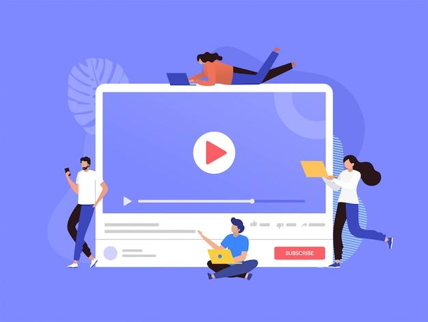 Szczęśliwy Mężczyzna I Kobieta Oglądając Transmisję Na żywo Z Ilustracją Telefonu I Laptopa, Platforma Streamingowa Online Premium Wektorów