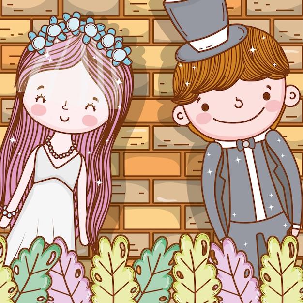 Szczęśliwy mężczyzna i kobieta z liści roślin Premium Wektorów
