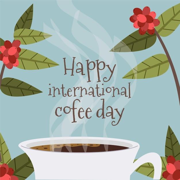 Szczęśliwy Międzynarodowy Dzień Kawy Płaska Konstrukcja Darmowych Wektorów