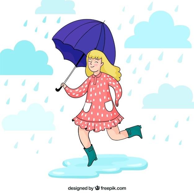 Szczęśliwy monsun tło dziewczyna z parasolem Darmowych Wektorów