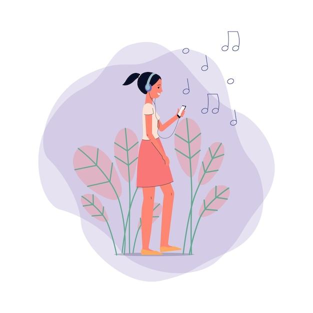 Szczęśliwy Nastolatek Dziewczyna Kreskówka Słuchanie Muzyki W Słuchawkach Na Tle Liści, Znaki Nut I Abstrakcyjne Kształty, Ilustracja. Premium Wektorów