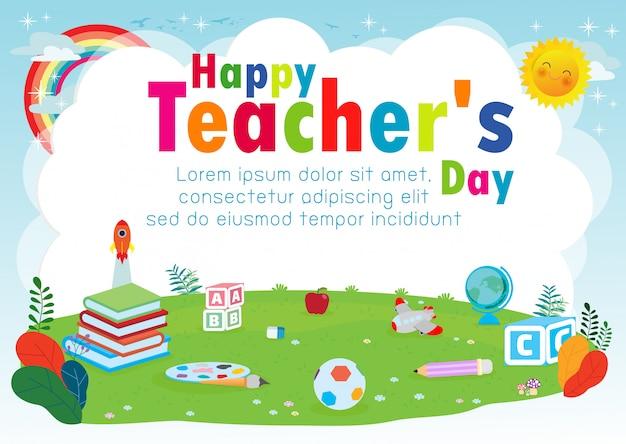 Szczęśliwy nauczyciel dzień szablon karty z pozdrowieniami Premium Wektorów
