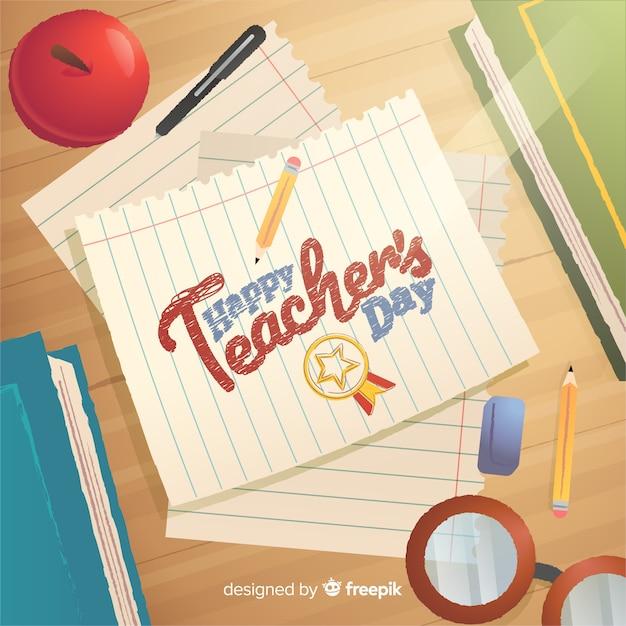 Szczęśliwy nauczyciela dnia literowanie na papierowej ilustraci Darmowych Wektorów