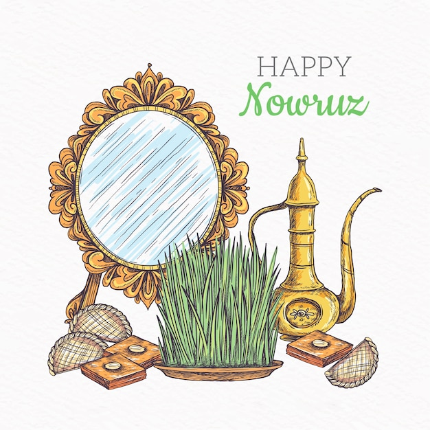 Szczęśliwy Nowruz Z Lustrem Darmowych Wektorów
