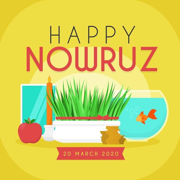 Szczęśliwy Nowruz Z Trawą I Miską Na Ryby Darmowych Wektorów