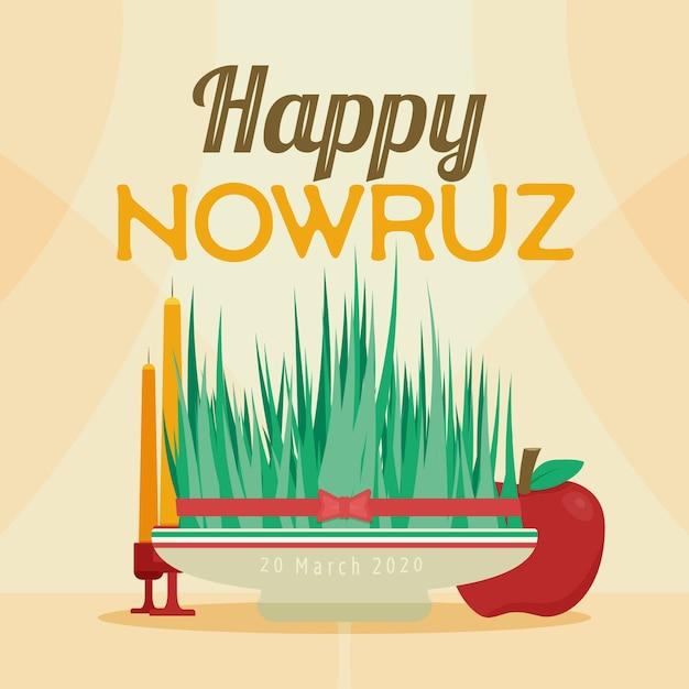 Szczęśliwy Nowruz Z Trawą Darmowych Wektorów