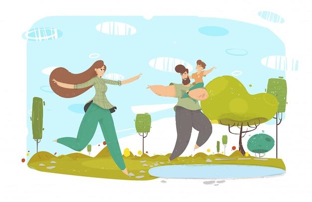 Szczęśliwy ojciec, matka i dziecko w pobliżu jeziora cartoon Premium Wektorów
