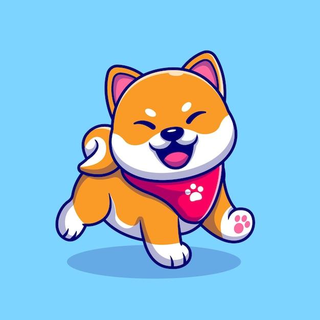Szczęśliwy Pies Shiba Inu Ubrany W Szalik Ilustracja Kreskówka. Koncepcja Natury Zwierząt Na Białym Tle. Płaski Styl Kreskówki Premium Wektorów