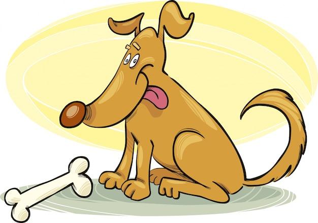 Szczęśliwy Pies Z Kością Premium Wektorów