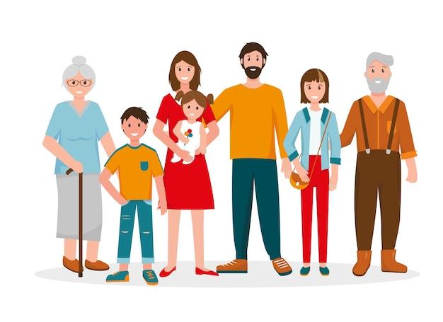 Szczęśliwy Portret Rodziny. Trzy Pokolenie - Dziadkowie, Ojciec I Matka, Dzieci W Różnym Wieku. Premium Wektorów
