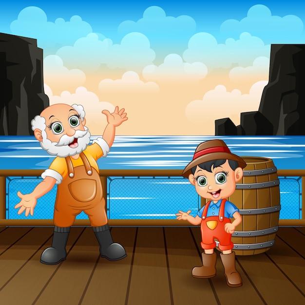 Szczęśliwy Pracownik Mans W Ilustracji Drewnianego Portu Premium Wektorów