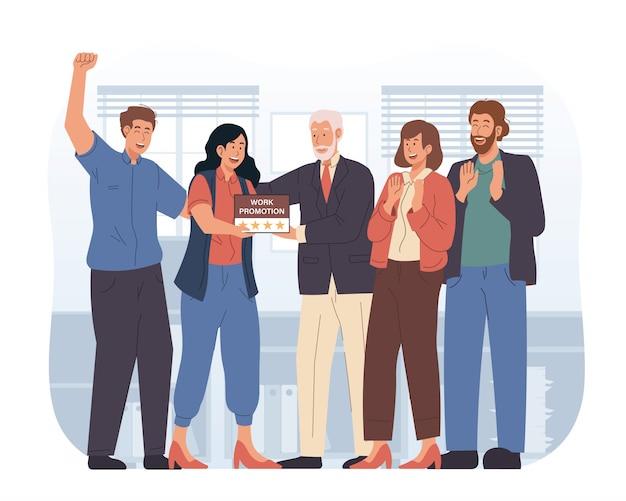 Szczęśliwy Pracownik Otrzymuje Awans Pracy W Pracy Premium Wektorów