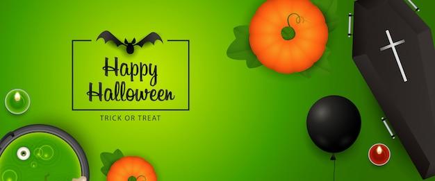 Szczęśliwy projekt transparentu halloween z dyni, trumny, nietoperza, mikstury Darmowych Wektorów