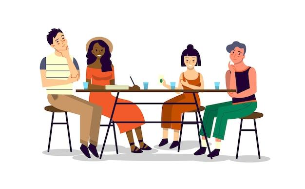 Szczęśliwy Przyjaciel Spędza Razem Czas I Rozmawia. Mężczyzna I Kobieta Siedzą Razem Przy Stole, Jedzą I Rozmawiają. Premium Wektorów