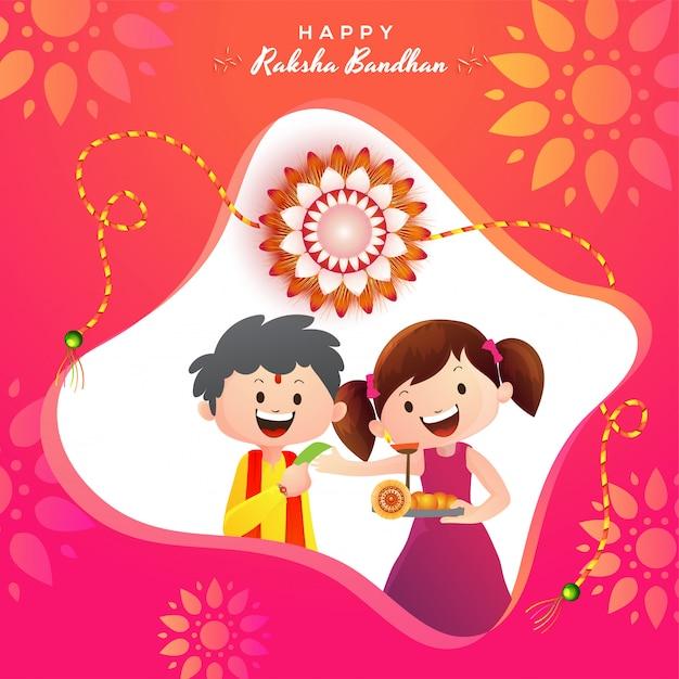 Szczęśliwy Raksha Bandhan świętowania Tło. Premium Wektorów