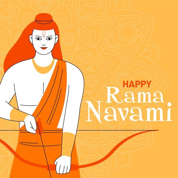 Szczęśliwy Ram Navami Z łucznikiem Darmowych Wektorów