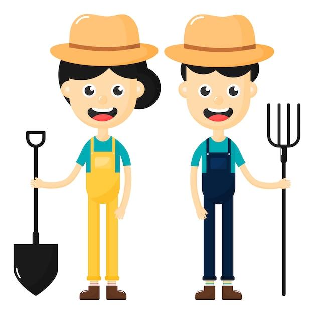 Szczęśliwy rolników mężczyzny i kobiety postać z kreskówki na białym tle. Premium Wektorów