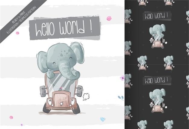 Szczęśliwy śliczny dziecko słoń na autobusowym bezszwowym wzorze Premium Wektorów