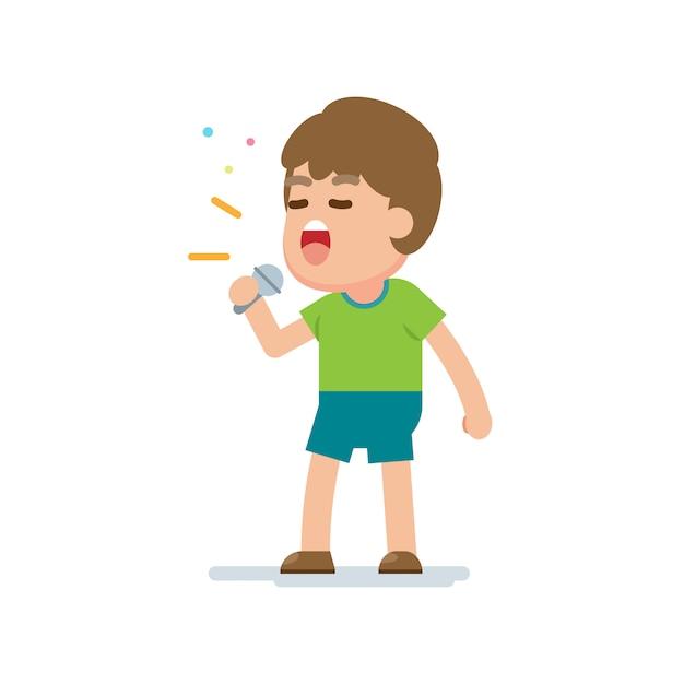 Szczęśliwy słodki chłopiec śpiewać piosenkę Premium Wektorów