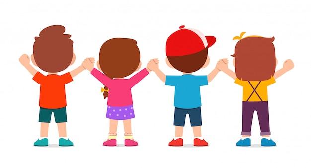 Szczęśliwy Słodkie Dzieci Chłopiec I Dziewczynka Trzymając Rękę Premium Wektorów