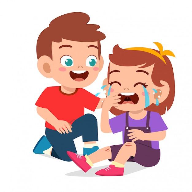 Szczęśliwy Słodkie Dziecko Chłopiec Komfort Płacz Przyjaciela Premium Wektorów