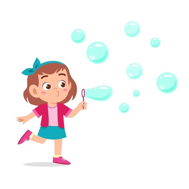 Szczęśliwy Słodkie Dziecko Dziewczynka Cios Bańki Mydlanej Premium Wektorów