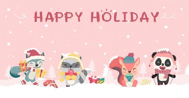 Szczęśliwy słodkie dzikie zwierzęta w zimowe święta kostium płaski kreskówka, pomysł na baner Premium Wektorów