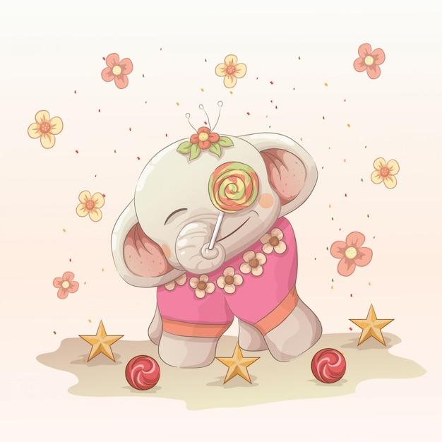 Szczęśliwy słoń dziecko cieszyć się lizak. wektor ręcznie rysowane styl sztuki Premium Wektorów